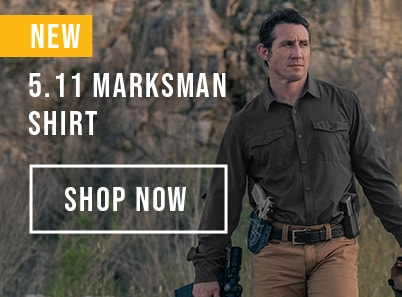 Man wearing a ranger green 5.11 marksman shirt