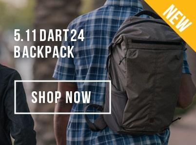 man wearing a 5.11 tactical dart 24 backpack